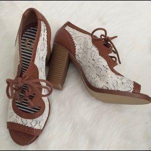 Gianni Bini Peep Toe Lace Up Heels